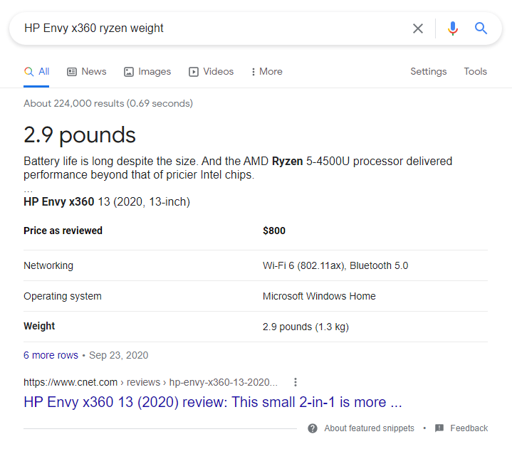 HP Envy x360 weight
