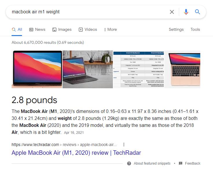MacBook Air M1 weight
