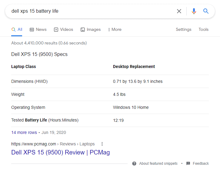 Dell XPS 15 Estimated Battery Life